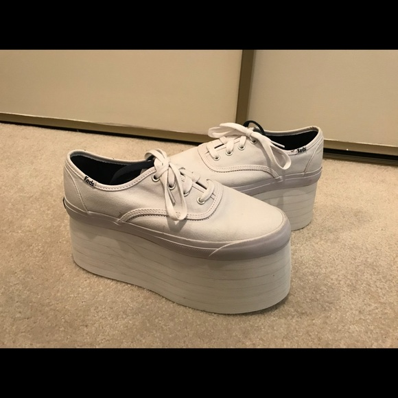 f439f08ef95 Keds White Sneakers with 3 inch platform- size 8